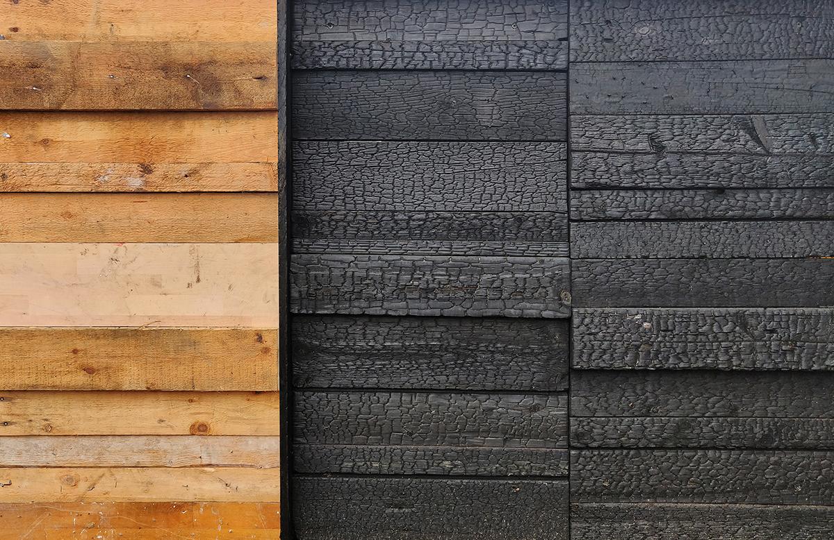Burntwood brændt træ facade beklædning facadebeklædning burnt wood reuse genbrugstræ genbrug upcycle upcycling burnt wood charred wood facade brændt facade element